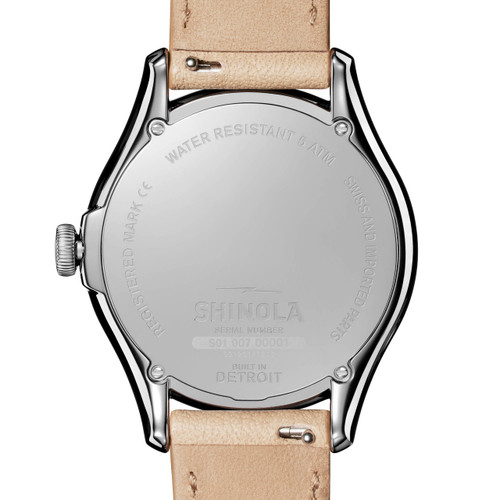 Shinola Vinton 38mm White Tan (S0120141282) back