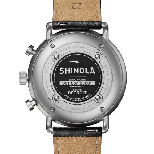 Shinola Canfield Sport 45mm Chrono Silver Black (S0120141500) back