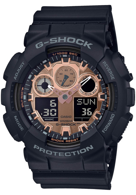 G-Shock GA100 Ana-Digi Black Metallic Rose Gold (GA100MMC-1A) front