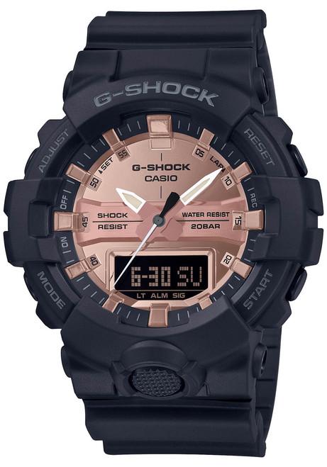 G-Shock GA800 Ana-Digi Black Metallic Rose Gold (GA800MMC-1A) front