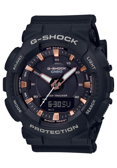 G-Shock S-Series Ana-Digi Pink Gold Black (GMAS130PA-1A)  front