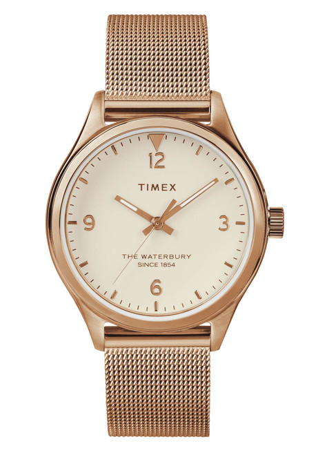 Timex Waterbury 34mm Rose Gold Mesh (TW2T36200 front