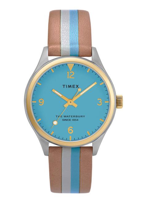 Timex Waterbury 34mm Aqua Tan Stripe (TW2T26500)