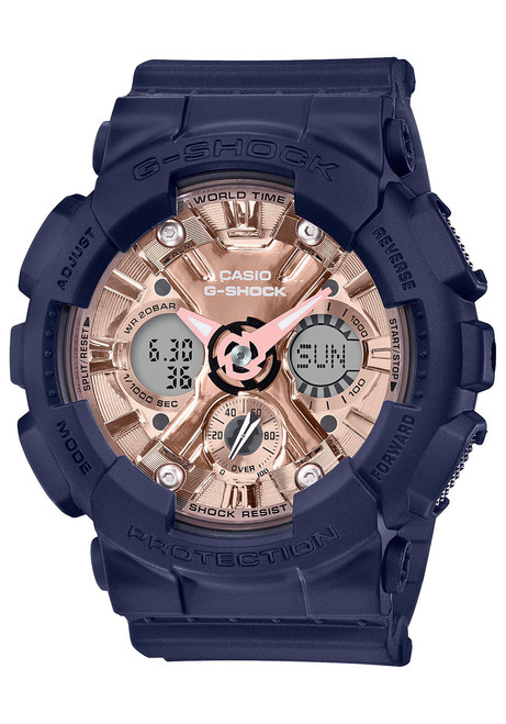 G-Shock GMAS120 S Series Ana-Digi Navy Rose Gold (GMAS120MF2A2)