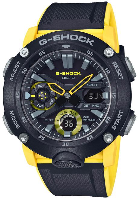 G-Shock GA2000 Carbon Core Ana-Digi Black Yellow (GA2000-1A9) front