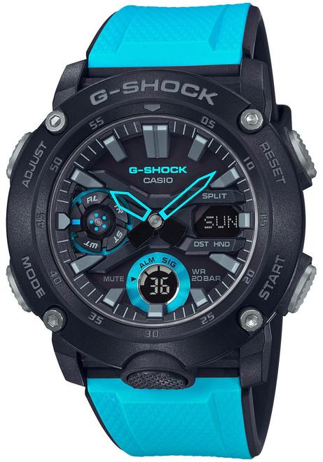 G-Shock GA2000 Carbon Core Ana-Digi Black Aqua (GA2000-1A2) front