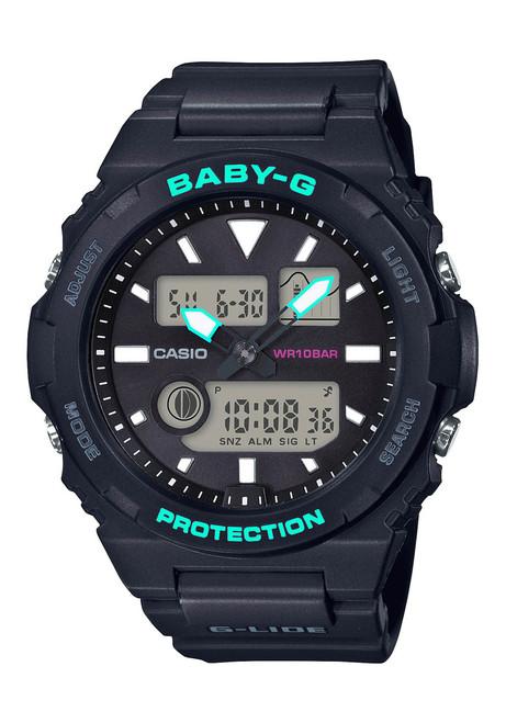 G-Shock BAX100 Baby-G Lide Ana-Digi Black Teal (BAX100-1A) front
