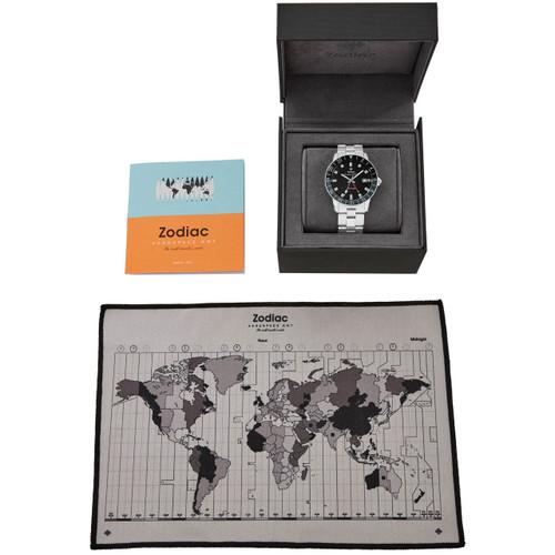 Zodiac Aerospace GMT Automatic Limited Edition Black Silver SS (ZO9400)