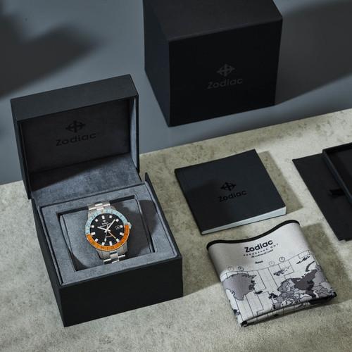 Zodiac Aerospace GMT Automatic Limited Edition Black Orange SS (ZO9401)