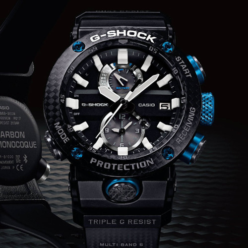 G-Shock GWRB1000 Gravitymaster Carbon Guard Solar Black Blue (GWRB1000-1A1)