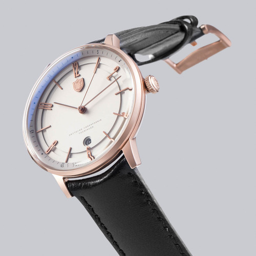 DuFa Bayer Swiss Automatic Black Rose Gold White (DF-9016-05)