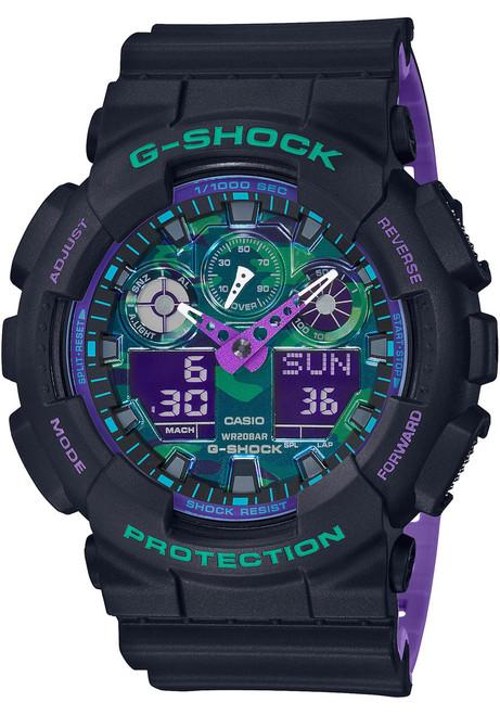 G-Shock GA100BL 90's Retro Sport Ana Digi Black Purple (GA100BL-1A)