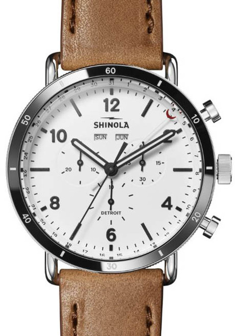 Shinola Canfield Sport Chrono 45mm White Tan (S0120141501) front