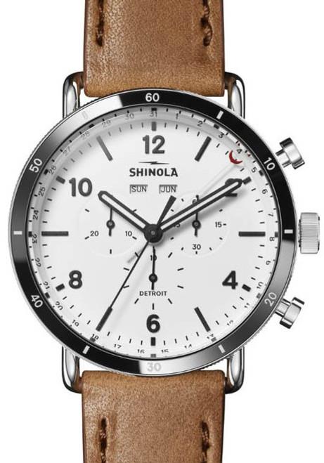 0a06da62f Shinola Canfield Sport Chrono 45mm White Tan (S0120141501) front