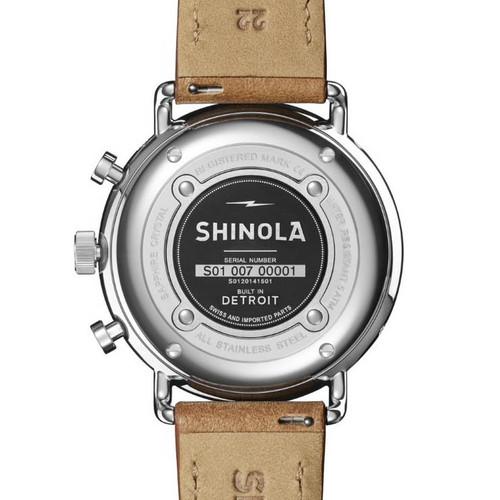 Shinola Canfield Sport Chrono 45mm White Tan (S0120141501) back