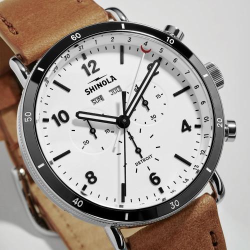 Shinola Canfield Sport Chrono 45mm White Tan (S0120141501) dial