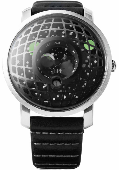 Xeric Trappist-1 Moonphase Silver Black (TMP-3023)