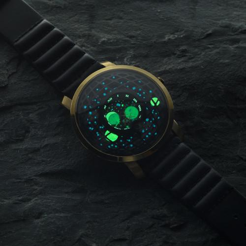 Xeric Trappist-1 Moonphase Gold Black (TMP-3025) lume glow stars