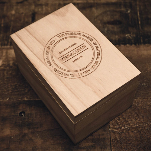 Original Grain Minimalist Zebrawood 40mm Gold Cognac (OG-4020-05-Z-CBR) box