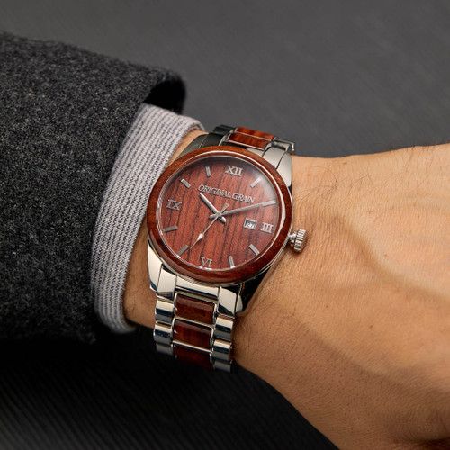 Original Grain Classic Rosewood 43mm Silver Brown (OG-C2-001)
