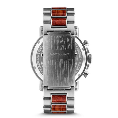 Original Grain Rosewood Chrono 44mm Red Silver Black (OG-CH-RW-BS-E)
