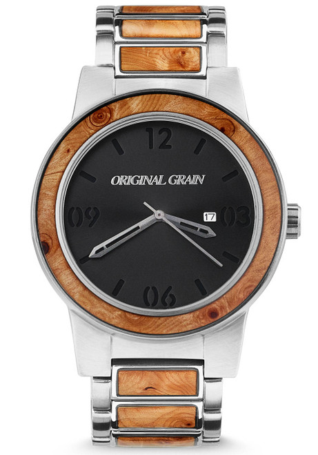 Original Grain Barrel Burlwood 47mm Silver Black Brown (OG-10-008)