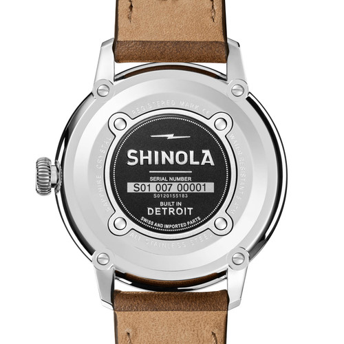 Shinola Bedrock 42mm Black Brown (S0120155183) back