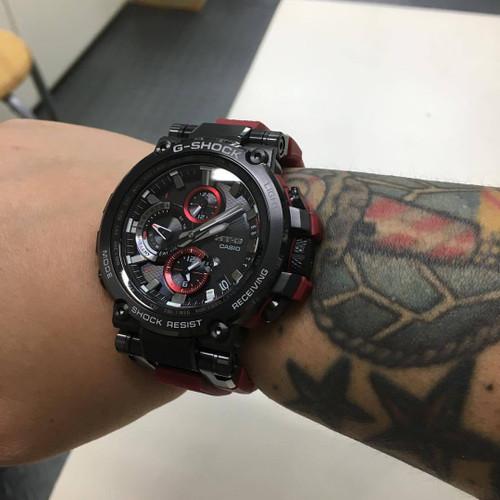 G-Shock MTG-B1000 Triple G-Resist Black Red MTGB1000B-1A4 wrist