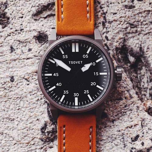 Tsovet SVT-FW44 Swiss Field Watch Gunmetal Tan (FW221021-45)