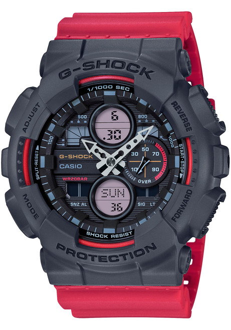 G-Shock GA140 90's Collection Ana-Digi Red Grey (GA140-4A)