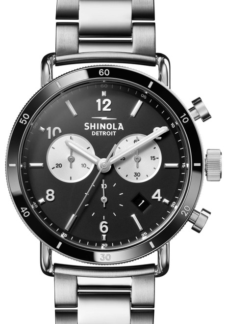 Shinola Canfield Sport 40mm Chronograph Black Silver SS (S0120161934)