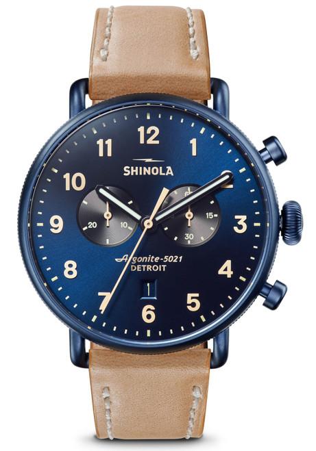 Shinola Canfield 43mm Chronograph Blue Tan (S0120161933)