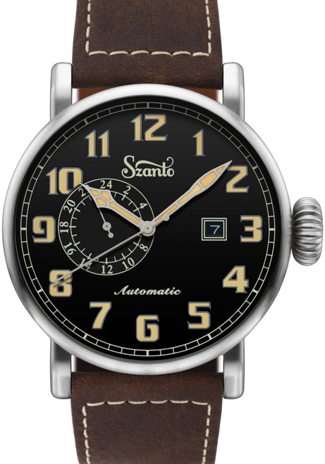 Szanto Big Aviator Automatic Black Brown (SZ6106)