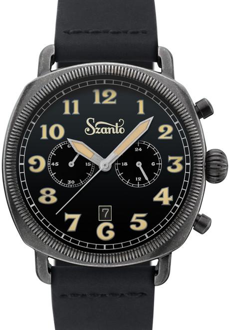 Szanto Coin Cushion Chronograph Antique Silver Black (SZ7012)