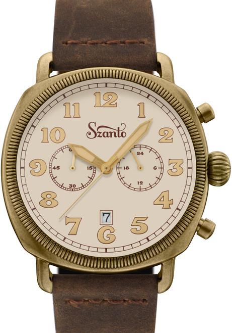 Szanto Coin Cushion Chronograph Antique Bronze Cream Brown (SZ7014)