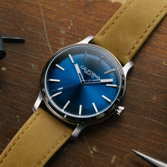 california watch co laguna 40 blue tan