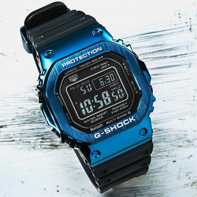 g-shock full metal rubber gmwb5000 standard digital black blue