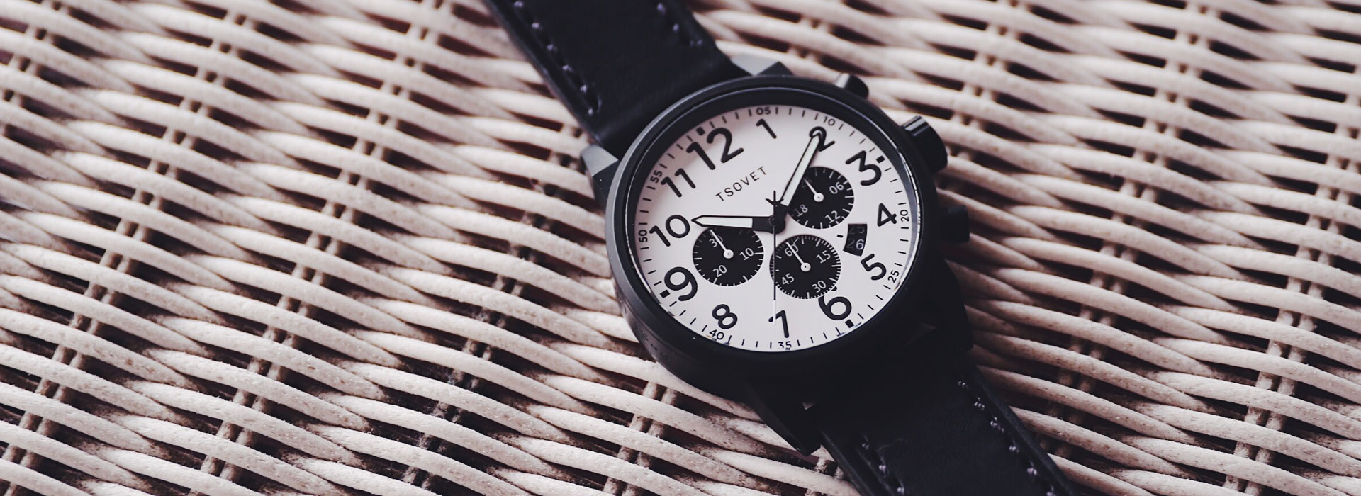 tsovet closeout banner with black and white chronograph