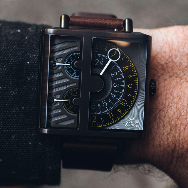 xeric soloscope sq quartz watch in brown gunmetal