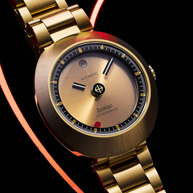 zodiac astrographic automatic watch in gold