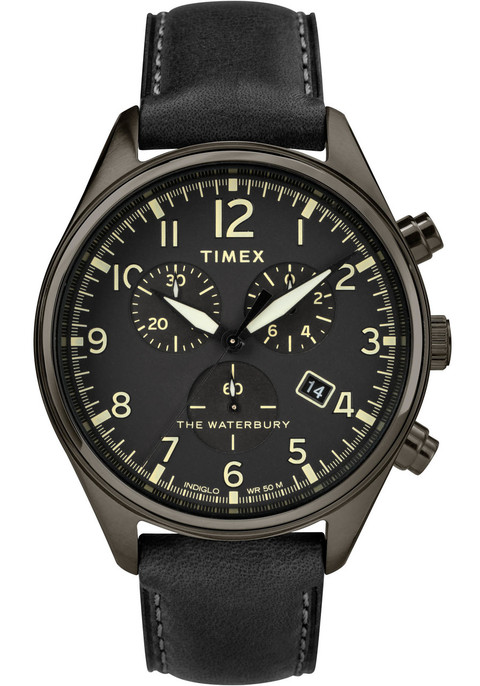 Best Automatic Watches >> Timex Waterbury Traditional Chrono All Black Leather ...