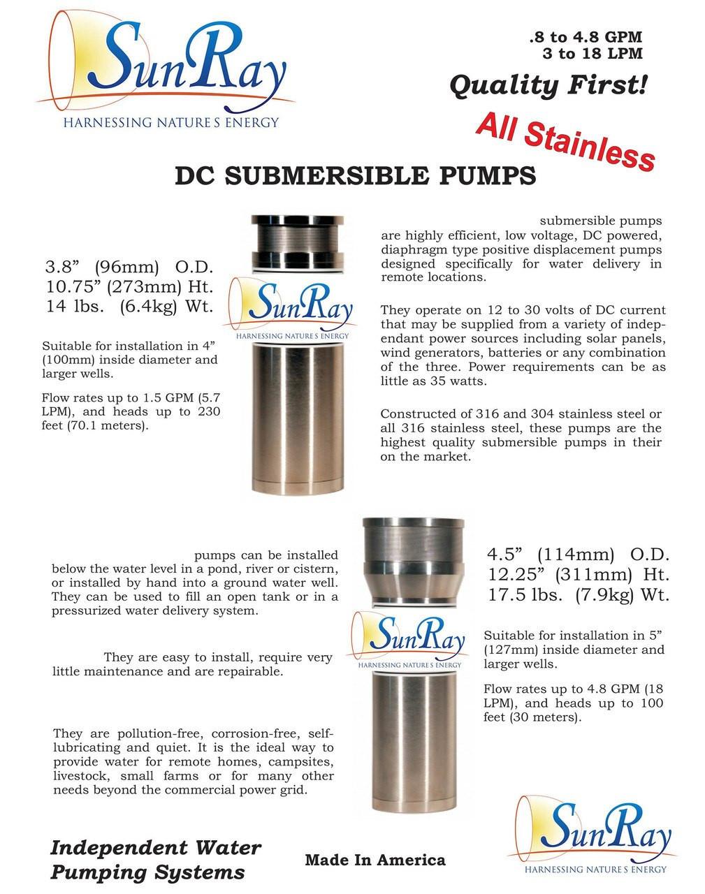 SDS-QL-135 Solar Submersible Pump 4-5gpm 40'tdh