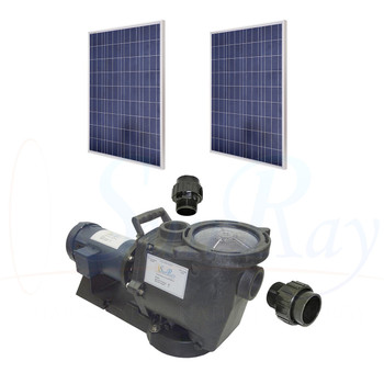 SunRay SolFlo1 - Spa 1/2 HP DC - 2 Solar Panels 500w Filter Spa Pump Systems 40GPM 9FT Head 60VDC Brush Type Motor Complete