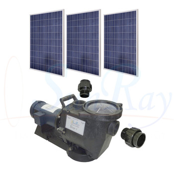 SunRay SolFlo1 - 1/2 HP DC - 3 Solar Panels 750w Filter Pool Pump Systems 39GPM 18FT Head 90VDC Brush Type Motor Complete