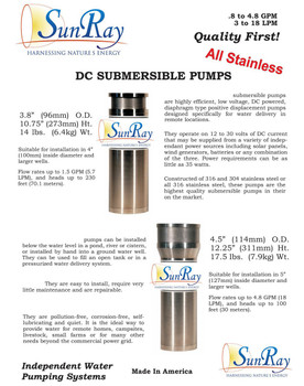 SunRay Solar Well Pump SDS-QL-135 Solar Submersible Pump 4-5gpm 40'tdh
