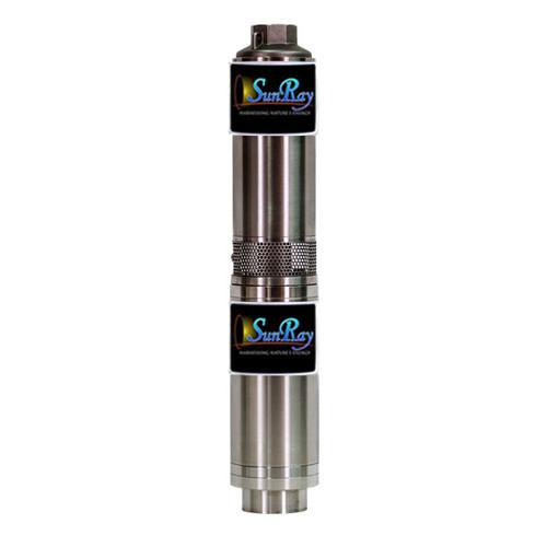 SunRay Solar Submersible Pump- SOLFLO Pump Motor Showing Data - GPM - Head - Volts - numbers with ie =-SCS 20-90-120Y BL