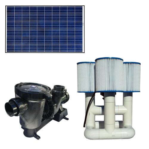 Bottom Feeder 0.5HP Solar Pool Filter Pump System 6,000 GPH 50K GPD 330w
