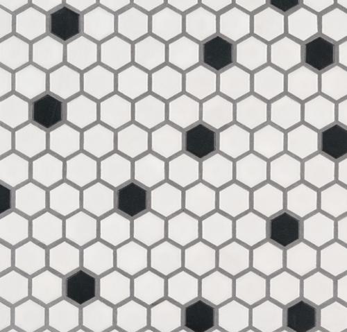 """1"""" Hexagon - Black & White"""