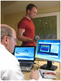 Athlete and doctor practicing biofeedback