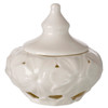 Italian Porcelain Covered Candy Dish Pierced Embossed Daisy